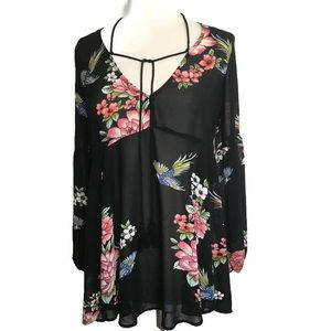 Forever 21 Black Semi Sheer Floral Blouse Small